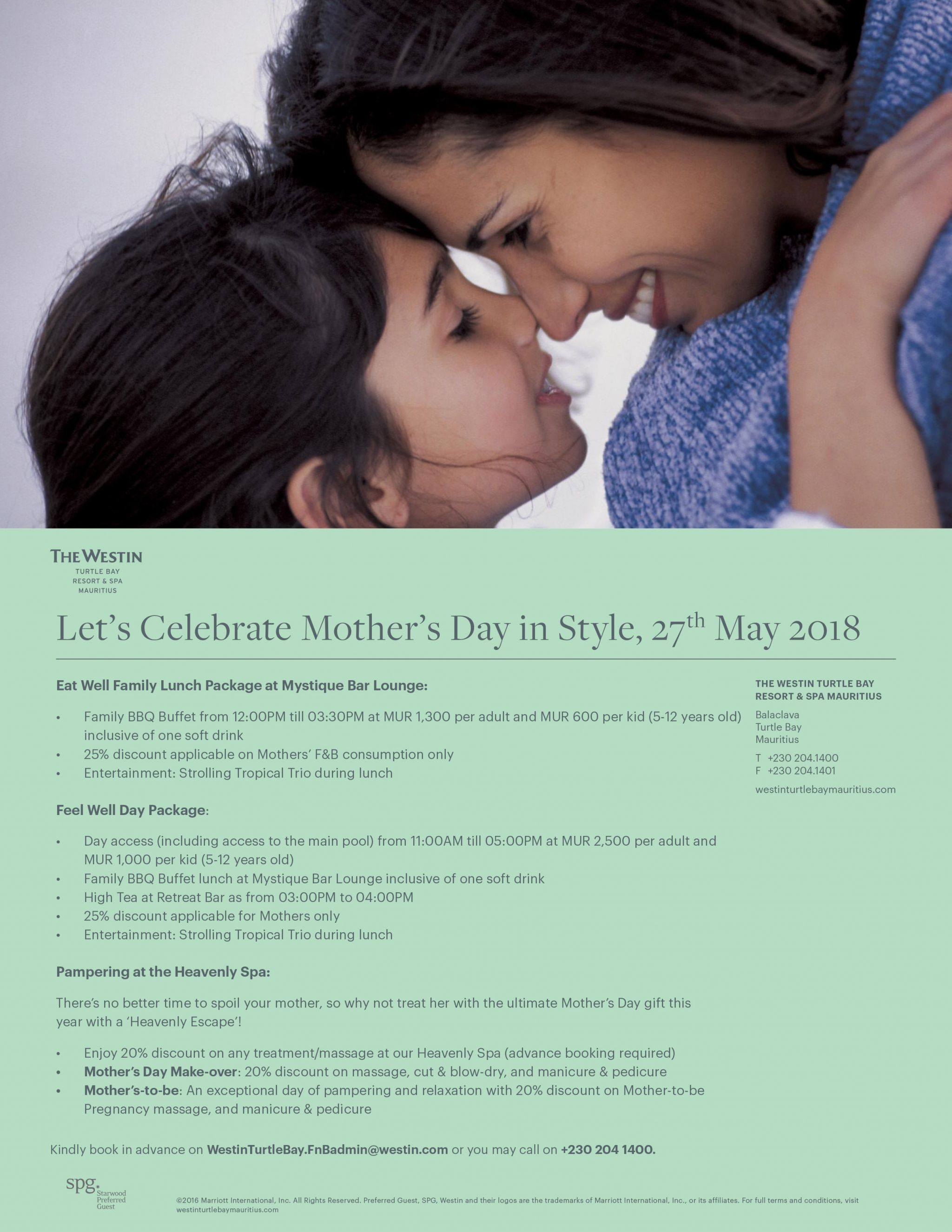 Westin Turtle Bay Resort & Spa Mothers Day offer 2018 flyer